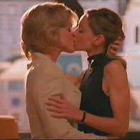 Calista Flockhart Two lesbians kissing very hot