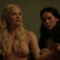 Lucy Lawless showing her nude body in Spartacus TV series