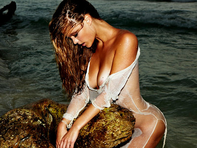 Nina Agdal See Through Nipple Hotness In Exotic Beach Photoshoot