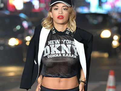 See through top hardly hides posh nipples of Rita Ora!
