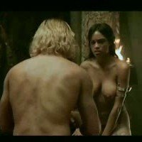 Rosario Dawson showing her boobs in 'Alexander'