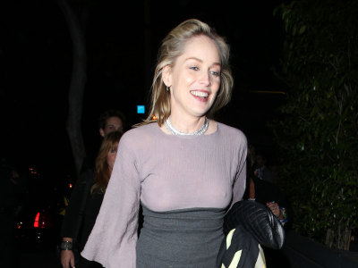 Sharon Stone in sexy see through top